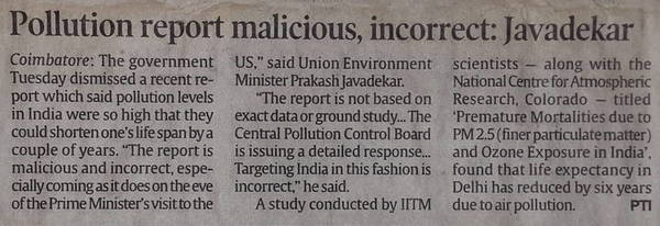 Pollution report malicious, incorrect: Javadekar